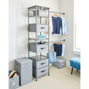 Idesign Modular Closet Storage System, Graphite Description:NEW IN BOX 4 Open-air shelves 4 Collapsible drawers with faux leather handles Each rod for Sale in Houston, TX