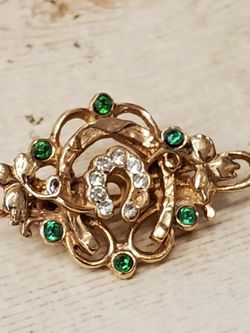 Vintage Pin Brooch With Green, White Stones for Sale in Cleveland,  OH