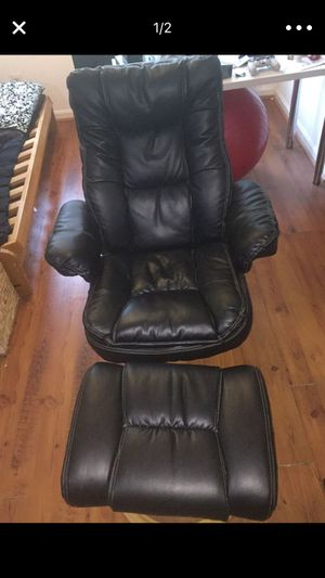 High quality leather reclining chair with matching ottoman for Sale in Lorton, VA