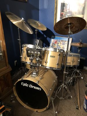 Epic drum set with stands, cymbals, hardware and drum throne for Sale in Littleton, CO