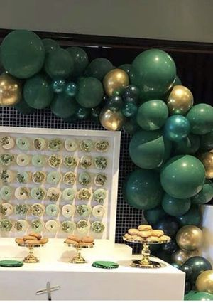 Gold and green Balloon Garland set with string for Sale in Puyallup, WA