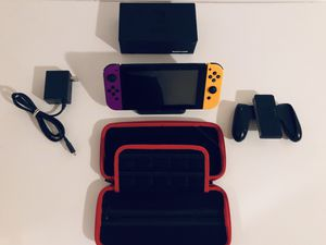 Nintendo Switch Console W/ Unique Purple & Orange JoyCons, Case for the switch, ALL ACCESORIES INCLUDED for Sale in Orlando, FL