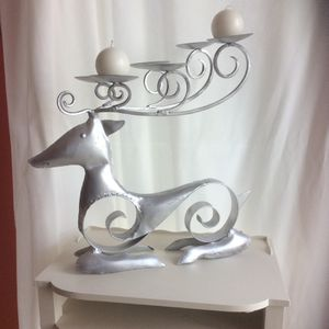 Pier 1 Set of 3 Reindeer Holiday Candleholders for Sale in Somerset, MA
