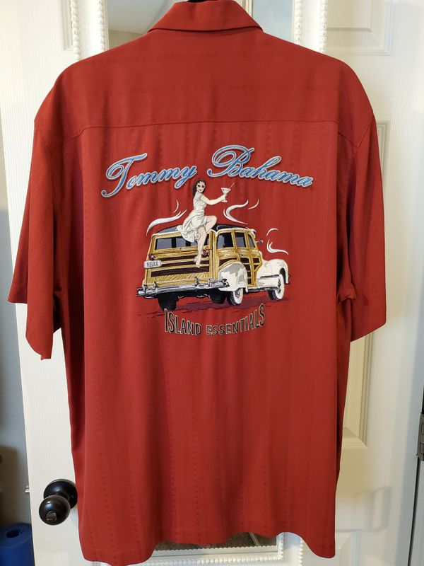 Tommy Bahamas vintage embroidered silk short sleeve shirts