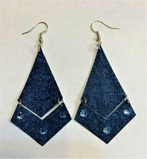 Broken Arrow Dangle Denim Earring with Swavorski Crystals for Sale in Peoria, IL