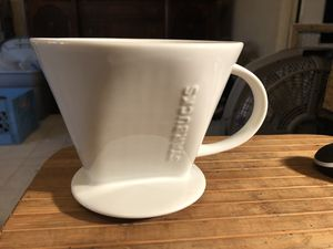 Ceramic white classic Starbucks pour over brewer cone coffee tea filter #4 new no box for Sale in Portland, OR