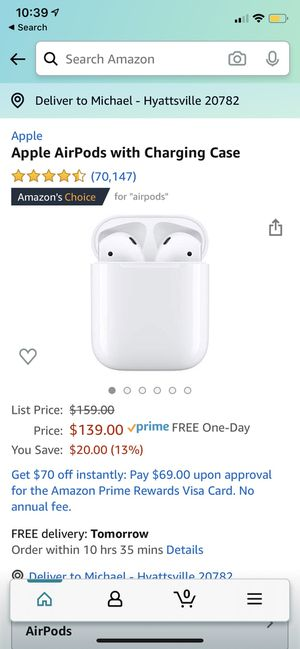 Brand New Apple AirPods with Charging Case for Sale in Washington, DC