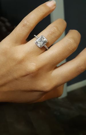 Size 7 solid real silver white cz ring de plata 925. Stamped ring for Sale in Houston, TX