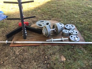 Standard Weight Set: Barbell, curling bar and Dumbbell handle for Sale in Braintree, MA