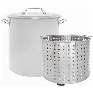 New 40QT Stainless Steel Stock Pot with Steamer Basket/Olla de 40 quartos nueva con colador de metal for Sale in Chino, CA