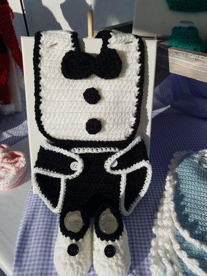 Handmade Crocheted Tuxedo Diaper Cover Set for Sale in Apache Junction, AZ