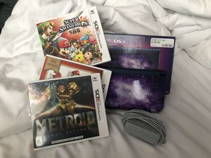 Nintendo 3DS XL (galaxy style) + Super Smash Bros + Super Mario + Metroid + Charger for Sale in Westminster, CA