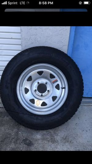 New 205-75-15inch radial trailer tires on 5-lug galvanized rims $95/each for Sale in Fort Lauderdale, FL