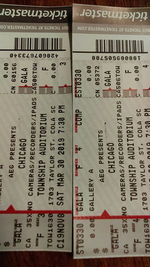 2 Chicago concert tickets for Sale in Lexington, SC