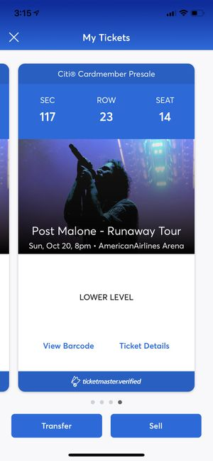 Post Malone @american airlines arena (2) tickets $330 or OBO section 117 row 23 seats 13,14 for Sale in Miami, FL