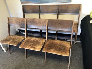 Vintage Wood Cinema Seats (2) Rows of 3 each for Sale in San Diego, CA