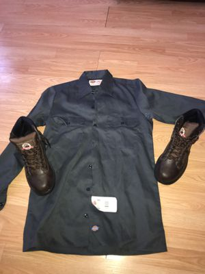 DICKE SHIRT and STEEL TOE BOOTS for Sale in Philadelphia, PA