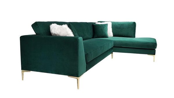 Naomi Green Velvet RAF Sectional FINANCE AVAILABLE!! With $39 down payment!!