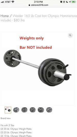 Weider 165 Lb Cast Iron Olympic Hammertone Weight Set (Bar no include) - $80 (h for Sale in Houston, TX