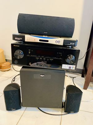 Pioneer receiver with a Monster Power Center Surge and Subwoofer with 3 speakers for Sale in Chicago, IL