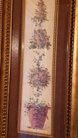 Set Of Topiary Paintings With Glass And Gold Frames for Sale in Pflugerville,  TX