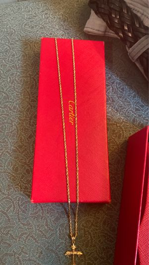 14k rope gold chain wit 14k gold cross for Sale in LRAFB, AR