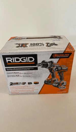 RIDGID 18-Volt Lithium-Ion Cordless Brushless Hammer Drill and Impact Driver 2-Tool Combo Kit with (2) 4.0Ah Batteries, Charger for Sale in Fort Lauderdale, FL