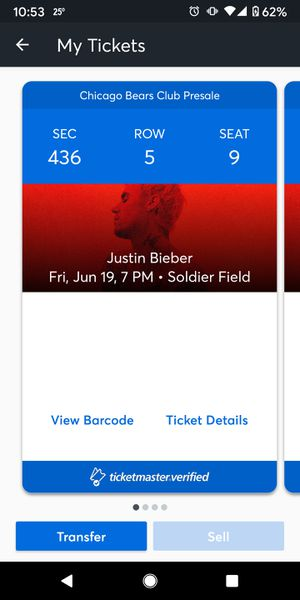 Justin Bieber tickets to Soldier Field Friday June 19th, 2020 4 tickets available for Sale in Chicago, IL
