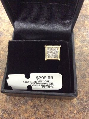14 kt 1.10 g yellow gold 1 ct tdw Princess diamond single square earring Inventory code 03111354420 for Sale in Sacramento, CA