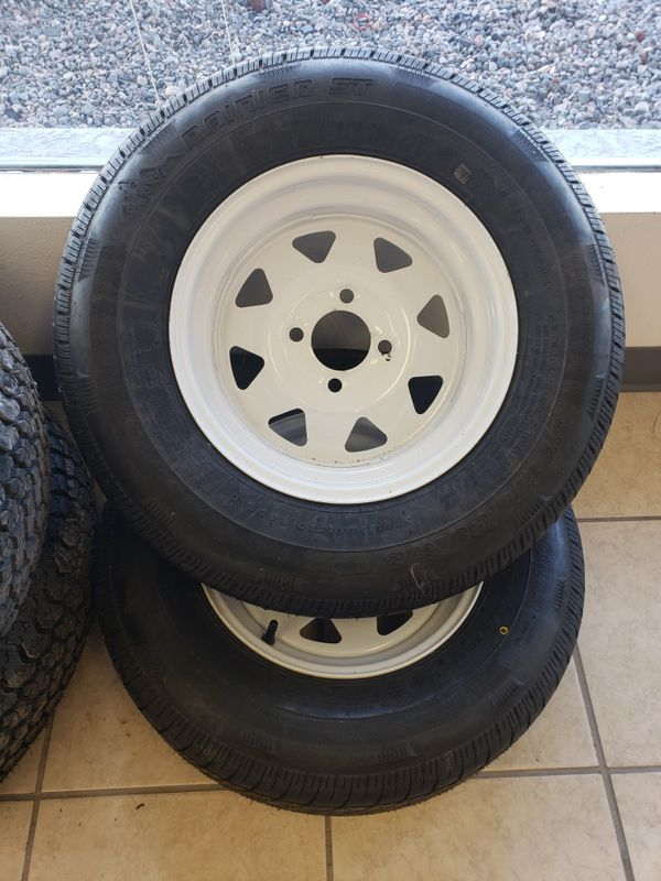 2-175/80R13 Rainier Radial tires & white painted rims