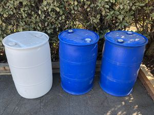 Set of 3 plastic barrels for Sale in Fremont, CA