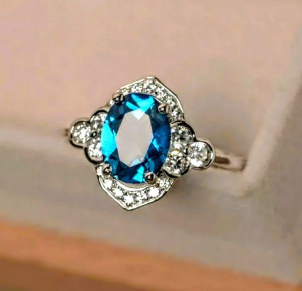 S925 Aquamarine Ring Size 8