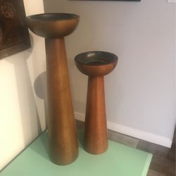 Crate and Barrel Tall/Med Wooden Candle Pillar for Sale in Alameda,  CA