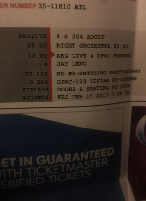 ~~~~2 tickets to jay Leno Friday 17th at dpac~~~ for Sale in Chapel Hill, NC