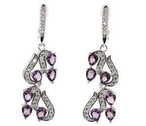 Sterling Silver.925 Purple Amethyst And CZ Earrings for Sale in Santee, CA