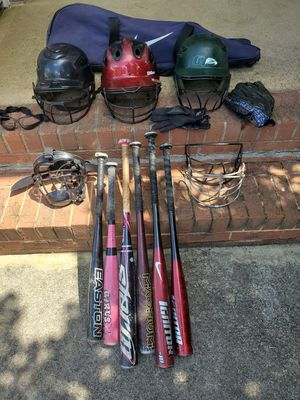 Lot of Youth Baseball/Softball equipment - Bats, Helmets, Carry Bag, Gloves, Masks for Sale in Duluth, GA