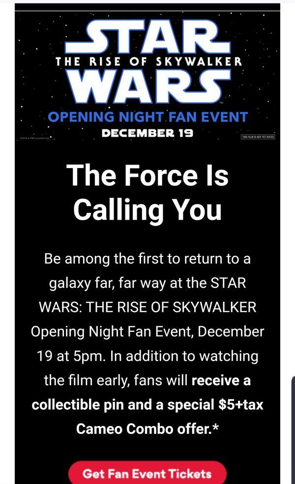 star wars fan event ticket w pin 12/19 @amc village crossing