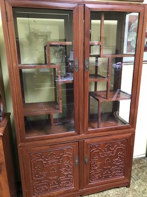 Vintage carved cherry wood Chinese cabinet. for Sale in Whittier, CA