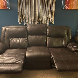 Brown Leather Couch for Sale in Belleville, MI