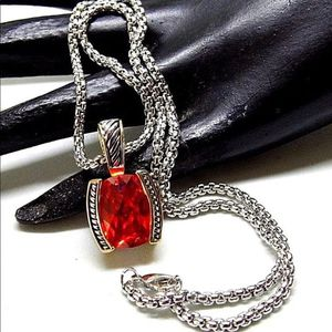 Pretty Orange Stone Pendant And Chain Necklace for Sale in Gaithersburg, MD