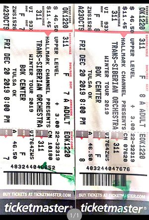 Two Trans-Siberian orchestra tickets for Sale in Tulsa, OK