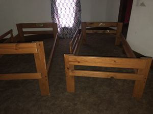Stackable bunk beds or two wooden frames both for $55 pick up only for Sale in Cleveland, OH