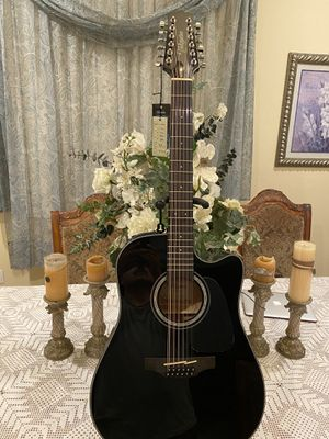 black takamine 12 string electric acoustic guitar with built in tuner for Sale in South Gate, CA