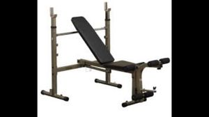Body Solid Olympic Weight Bench w/ Barbell and 300 lbs of weights for Sale in Sherwood, OR