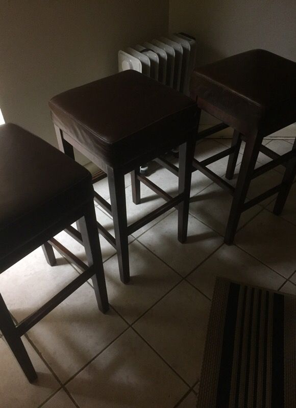 3 Brown Leather Bar Stools $30 each