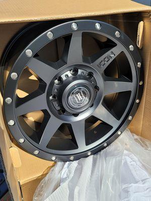 4 New 18 inch 18x9 Icon Rebound Matte Black Wheels/Rims Chevy Ram 8 Lug 8x6.5 8x165.1 bolt pattern for Sale in Moreno Valley, CA