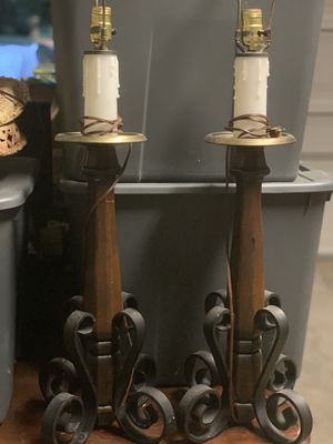(2) Wood & Rod Iron Candlestick Lamps for Sale in Brentwood, TN