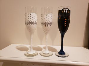 Bride and Groom Champagne Glasses for Sale for sale  FERNANDINA, FL