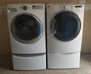 Whirlpool washer and Kenmore dryer both with steam extra large capacity on pedestals for Sale in Vancouver, WA