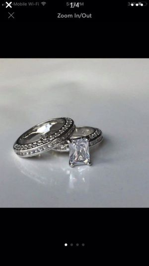 Sterling silver plated plated sapphire wedding engagement ring band set size 6 925 stamped for Sale in Silver Spring, MD